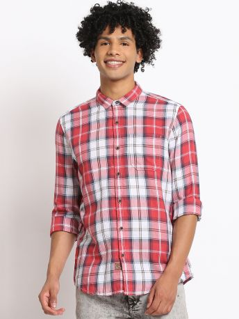 Red Checked Regular Fit Shirt