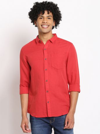 Red Solid Regular Fit Shirt