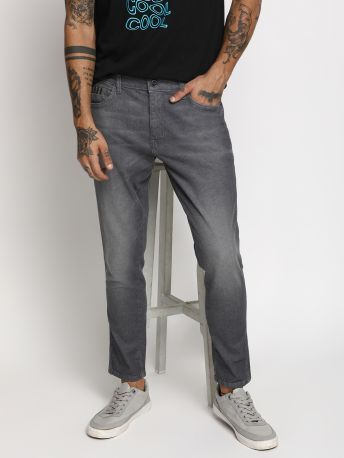 Fred-B Solid Slim Fit Grey Jeans